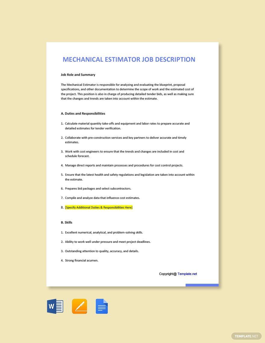 Free Mechanical Estimator Job Ad and Description Template