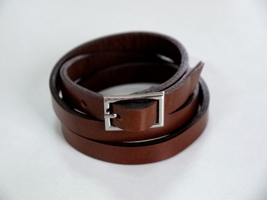 Tan Leather Bracelet Wrap Bracelet Leather Cuff  with Buckle Clasp. $11.00, via Etsy.