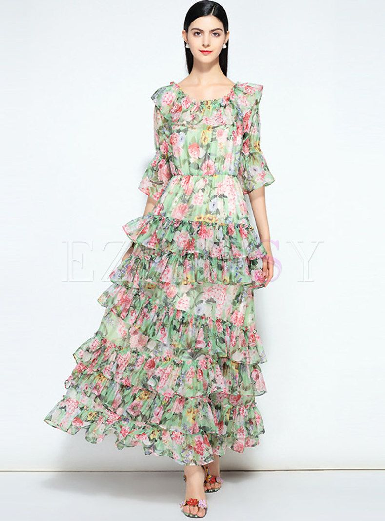 92388a580ae Elegant Floral Print Stitching Prom Dress in 2019