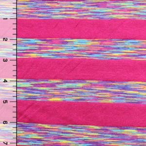 Fuchsia Pink Vintage Rainbow Stripes Modal Cotton Jersey Knit Fabric