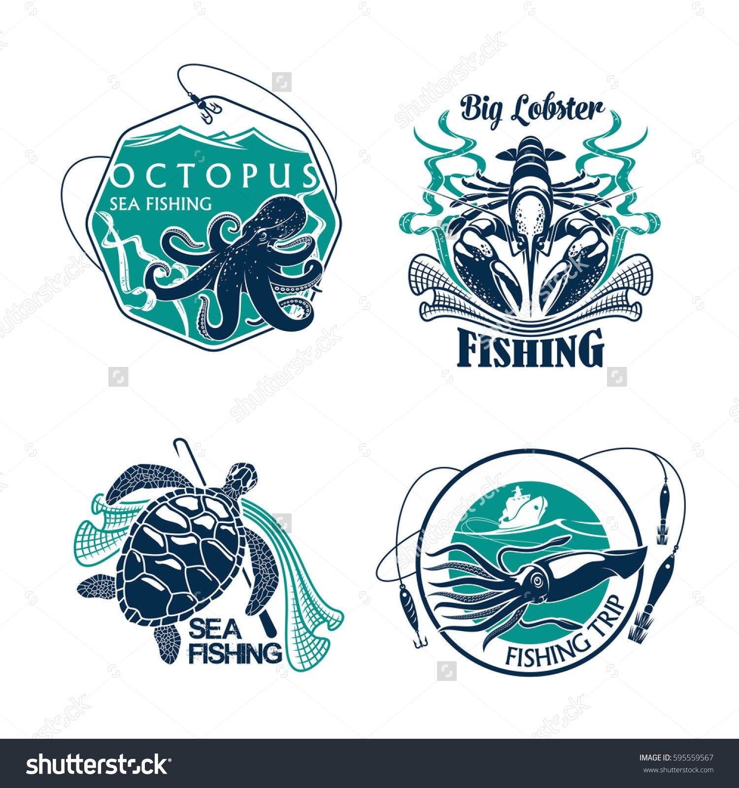 Fishing trip vector icons of catch and fisher tackle