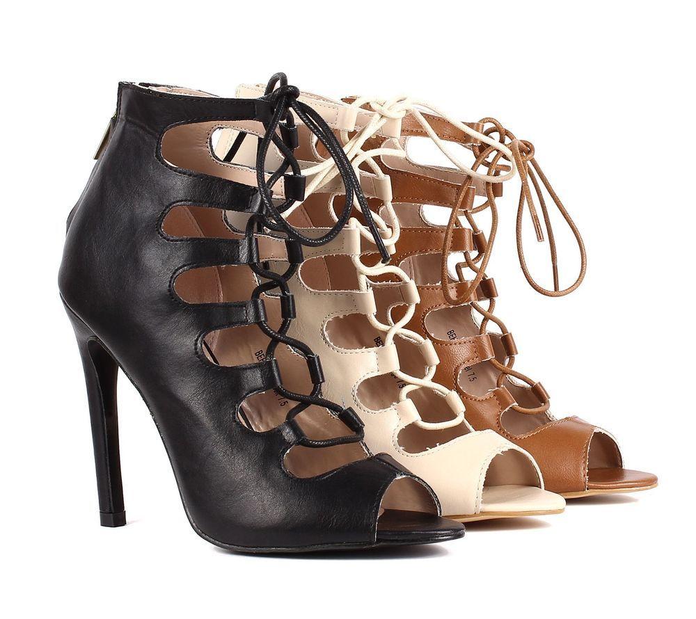 Women's High Heel Open Toe Lace Up Back Zipper Sandal