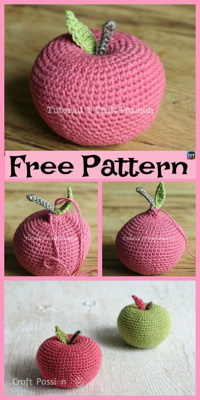 6 Crochet Apple Amigurumi Free Patterns #crochetamigurumifreepatterns