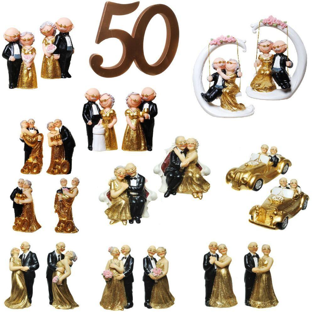 Deko Figur Goldene Hochzeit 50 Jahre Tortenfigur Goldpaar