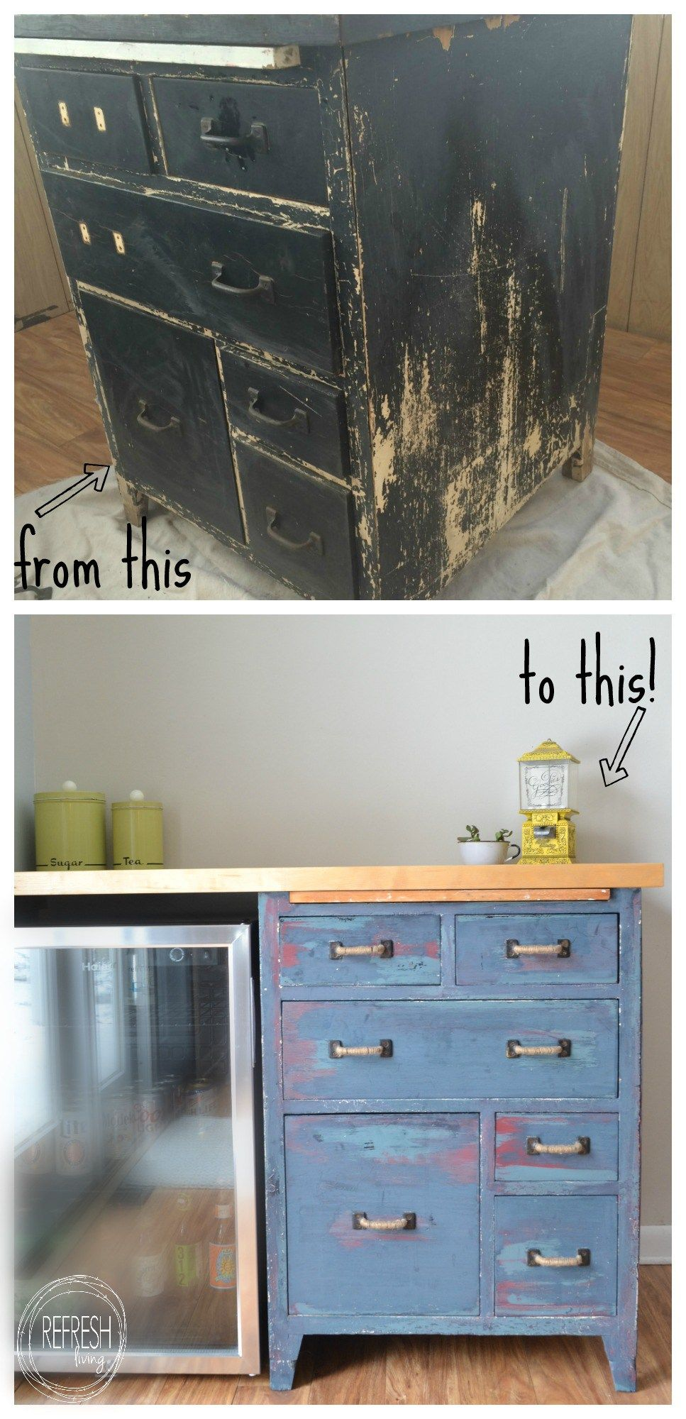 Refinished antique bakerus cabinet reused to create custom kitchen