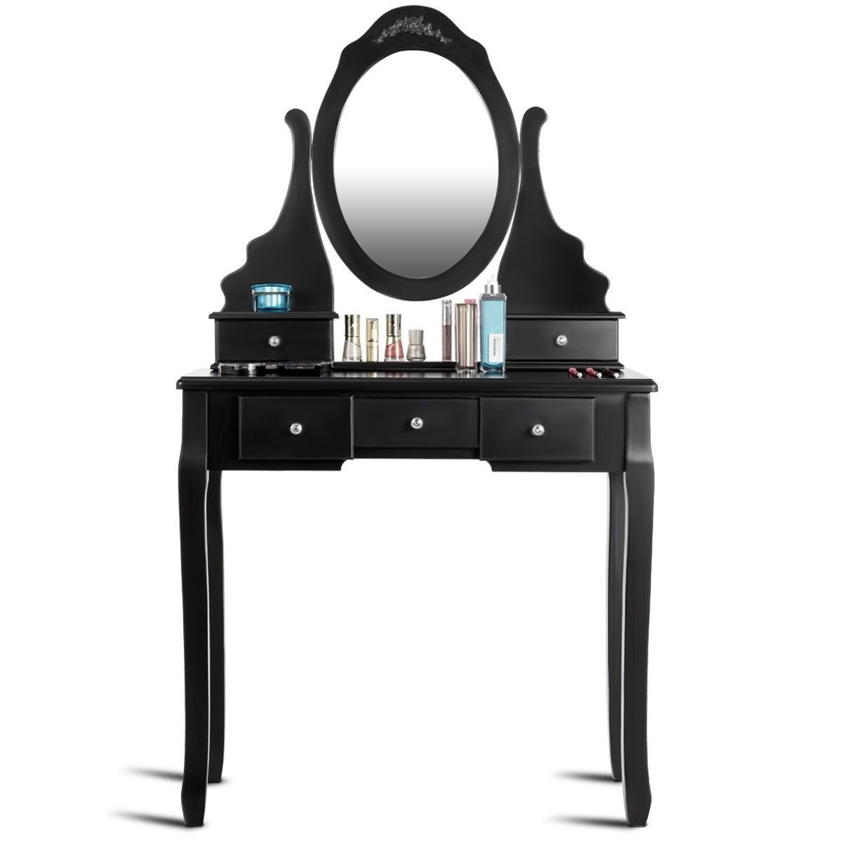 Mirrored Jewelry Wooden Vanity Table Set With 5 Drawers Vanity