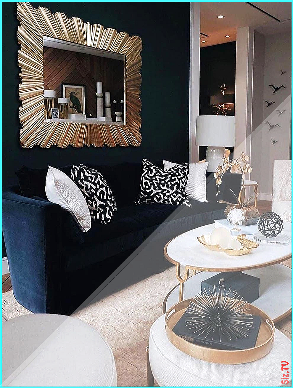 The perfect harmony of navy blue sofa and light color ...
