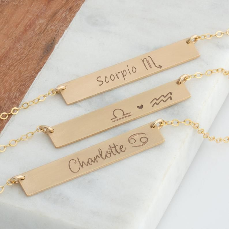 Zodiac Necklace 14k gold filled personalized necklace sterling silver Bar Necklace simple necklace monogram bar necklace tag nacklace