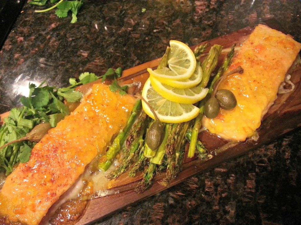 The Apricot Habanero glaze adds just enough heat to the sweetness of the apricot to make an outstanding accent to any fish, particularly salmon. This is a perfect dish to enjoy with the warm breezes of Spring. Although this recipe can be prepared various ways, and without the cedar plank, the plank gives it such a great flavor, this is our preferred method. This fish can also be prepared on the grill, or on a smoker, if you enjoy a grilled smoky flavor.