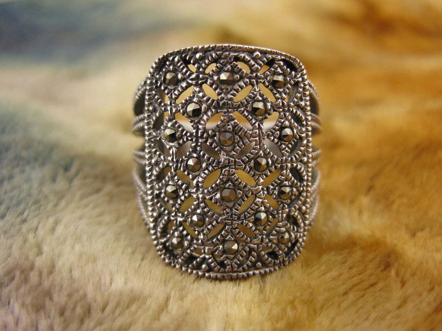 Ring - Size 7 1/4 - Sterling Silver - Marcasite - Cocktail Ring - Women Ring - Sparkle Silver Ring - Signed CW. $29.95, via Etsy.