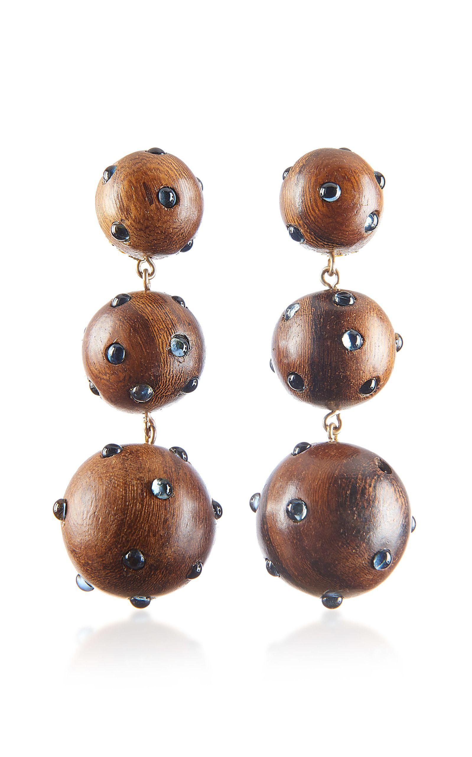 Rebecca de Ravenel Classic Three Drop Dark Wood and Denim Earrings zy3ZzaC
