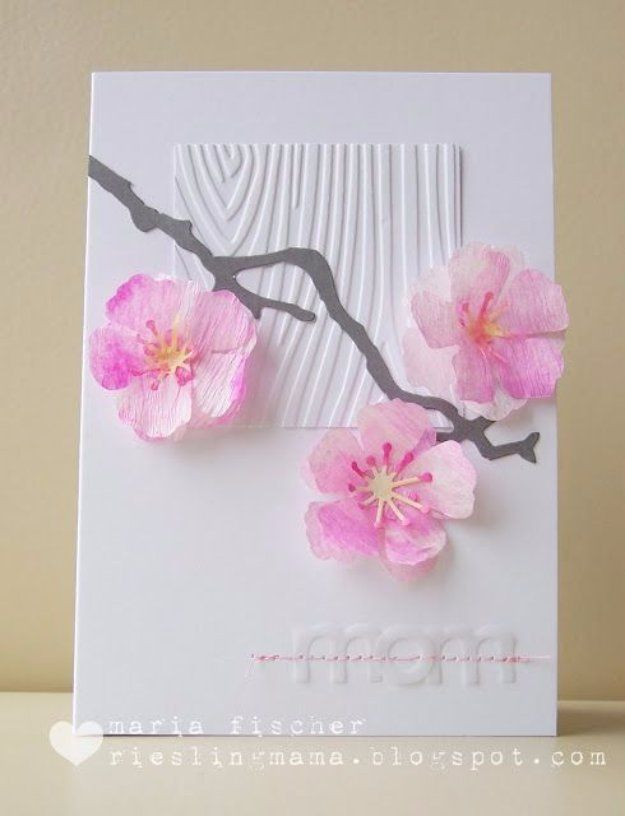 Diy Mothers Day Cards Watercolored Cherry Blossoms Card Creative And Thoughtful Homemade Ideas For Mom Step By Tutorials Best Quotes