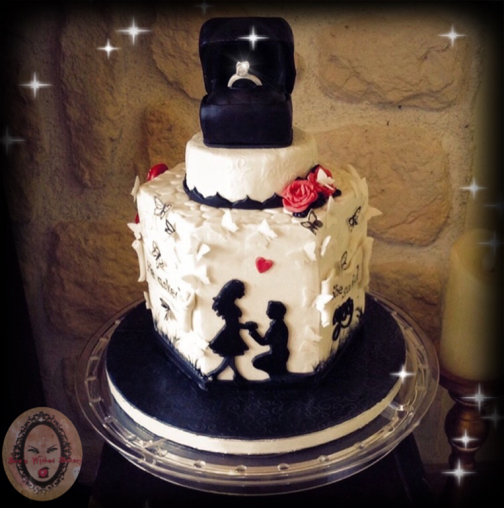 Engagement cake silhouette couple with sugar Diamond ring