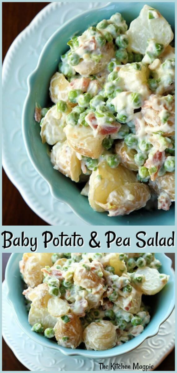 Baby Potato & Pea Salad With Garlic Bacon Aoili! This can be served warm or cold and it is DELICIOUS. #sidedish #salad #potatosalad