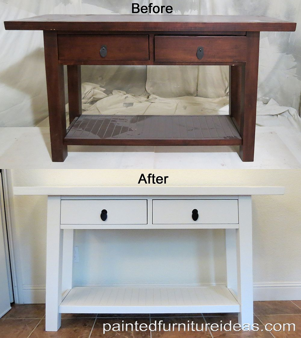 Sofa Table Makeover In White Painted Furniture Ideas Fix