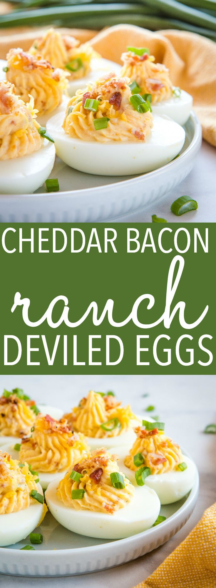 Best Ever Cheddar Bacon Ranch Deviled Eggs - -