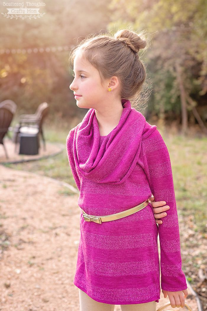 Free Sewing pattern: How to Sew a Girl\'s Cowl Neck Top | Sewing for ...