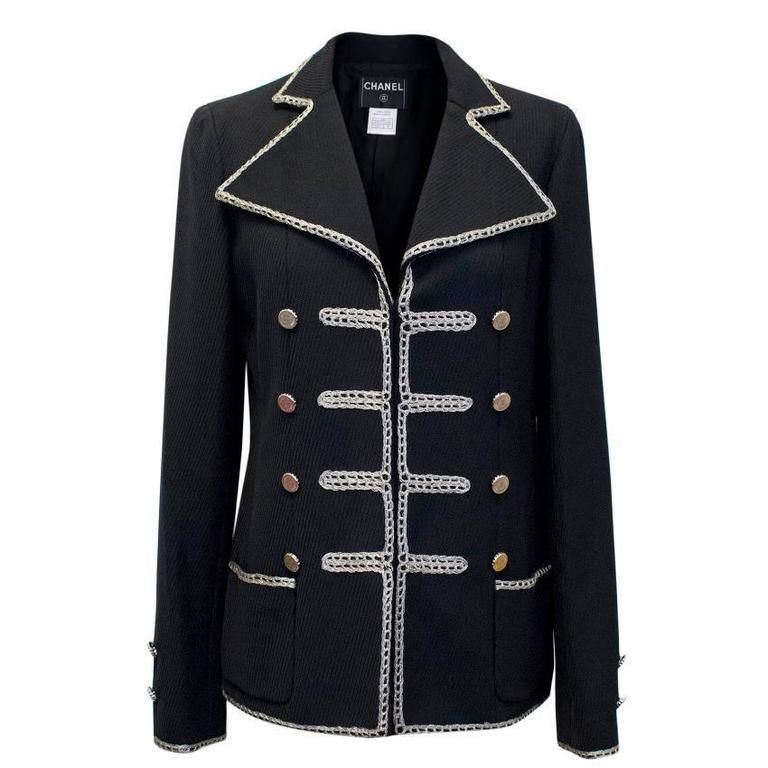 Chanel Black Military Blazer | From a collection of rare vintage blazers at https://www.1stdibs.com/fashion/clothing/jackets/blazers/