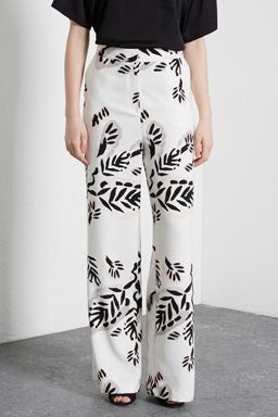 b4a6f5bac6 ABSTRACT LEAF WIDE LEG TROUSER | Pantalones palazzo | Trousers ...