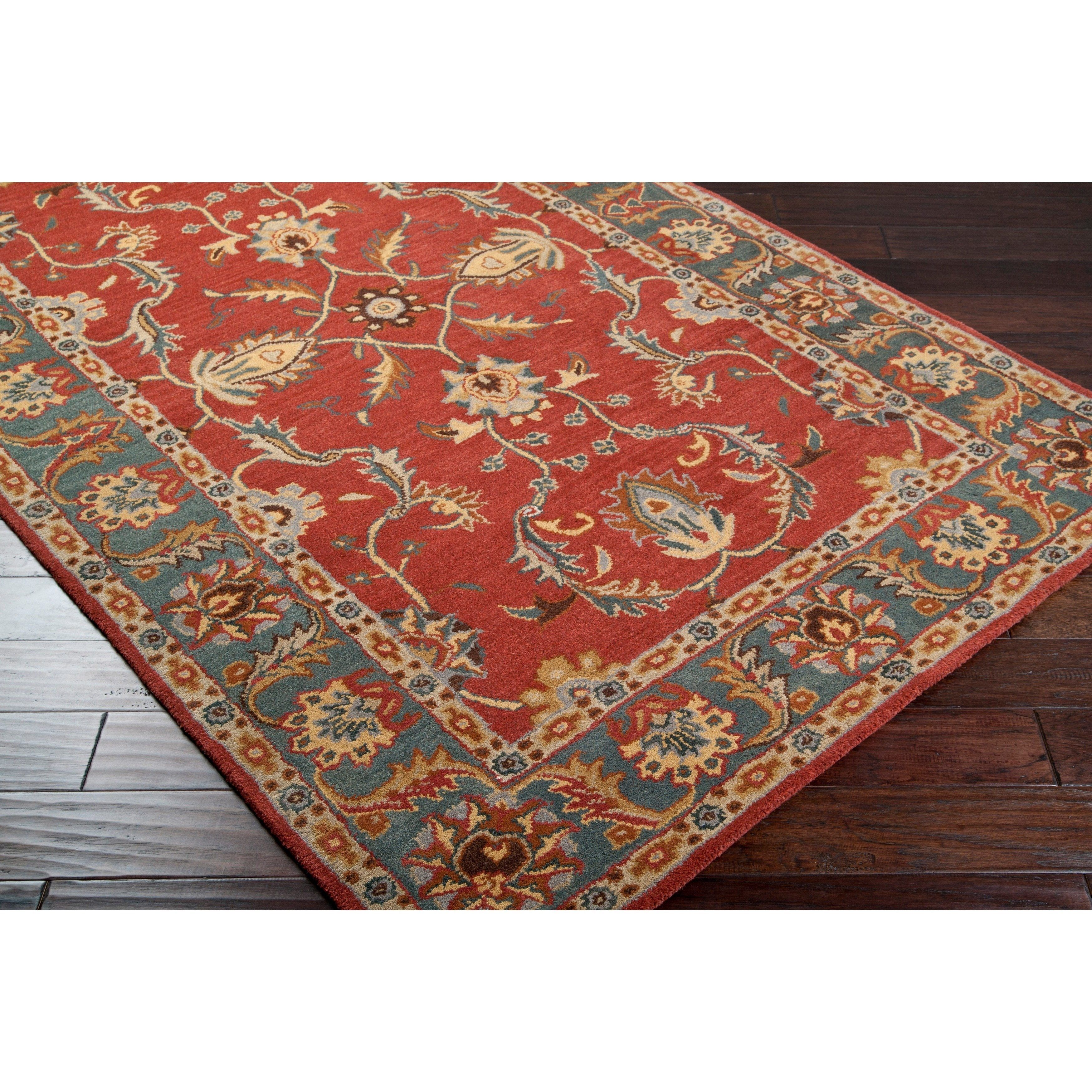Hand Tufted Coliseum Rust Traditional Border Wool Rug 9 X 12
