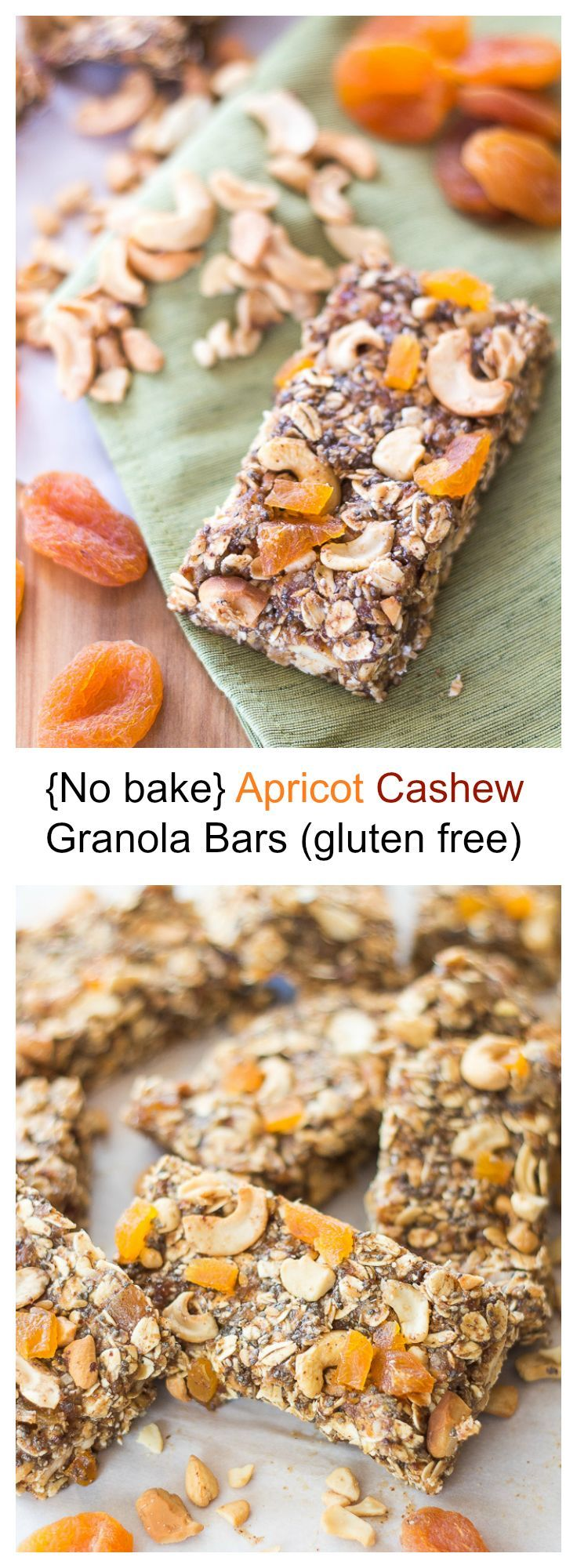 An all natural, gluten free apricot cashew granola bar filled with chia seeds, flax seeds, and oats for a fiber filled breakfast that will leave you feeling full till lunch time.