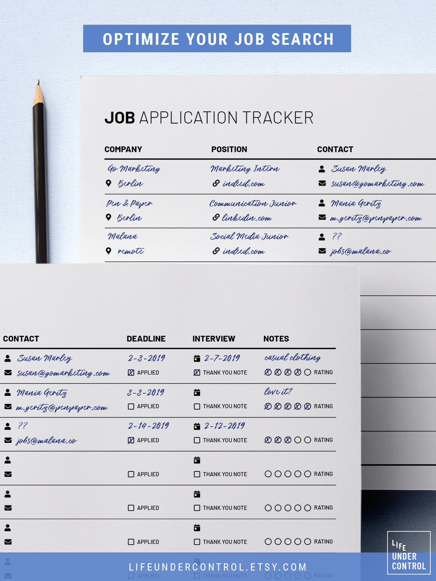 Job Application Tracker Printable A4 Us Letter Digital