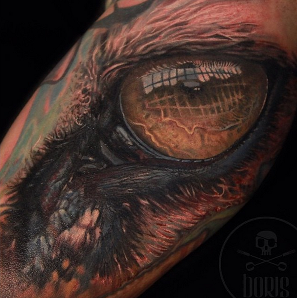 Viewing things from a different perspective. A tiger behind bars design from Boris using Intenze tattoo ink.
