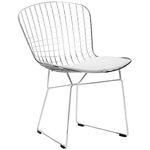 Poly and Bark Bertoia Style Wire Dining Chair, White Poly ...