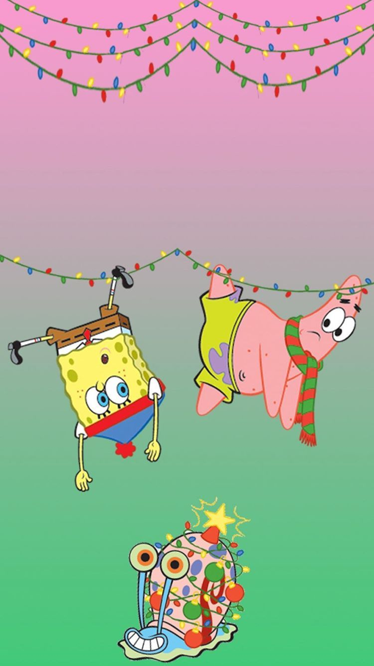 Spongebob And Patrick Tangled With The Christmas Lights