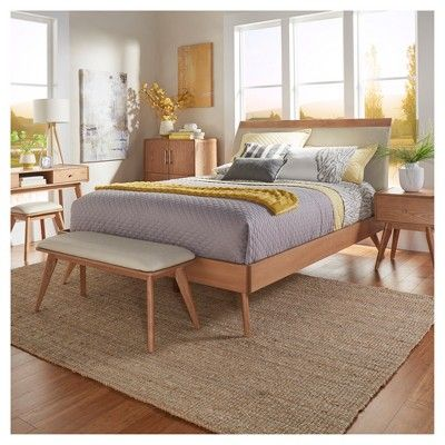Mid Century Bed Queen Natural - Inspire Q