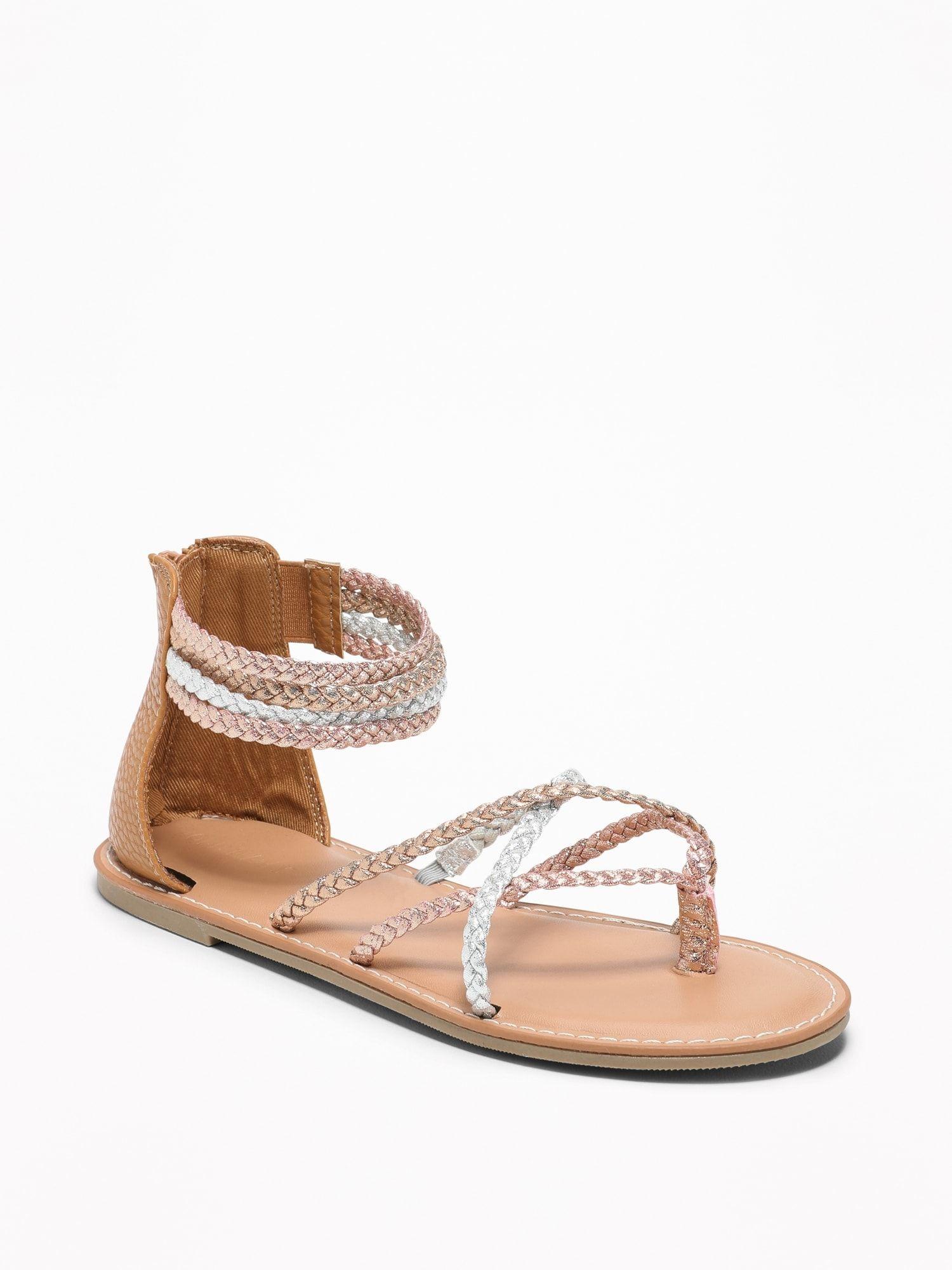 4b1d023bcff Metallic-Braided Gladiator Sandals for Girls