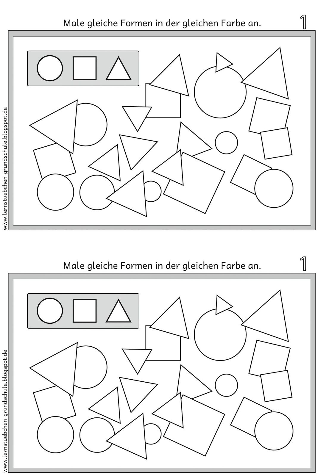 lernst bchen gleiche formen erkennen und gleich anmalen klassenraumgestaltung. Black Bedroom Furniture Sets. Home Design Ideas