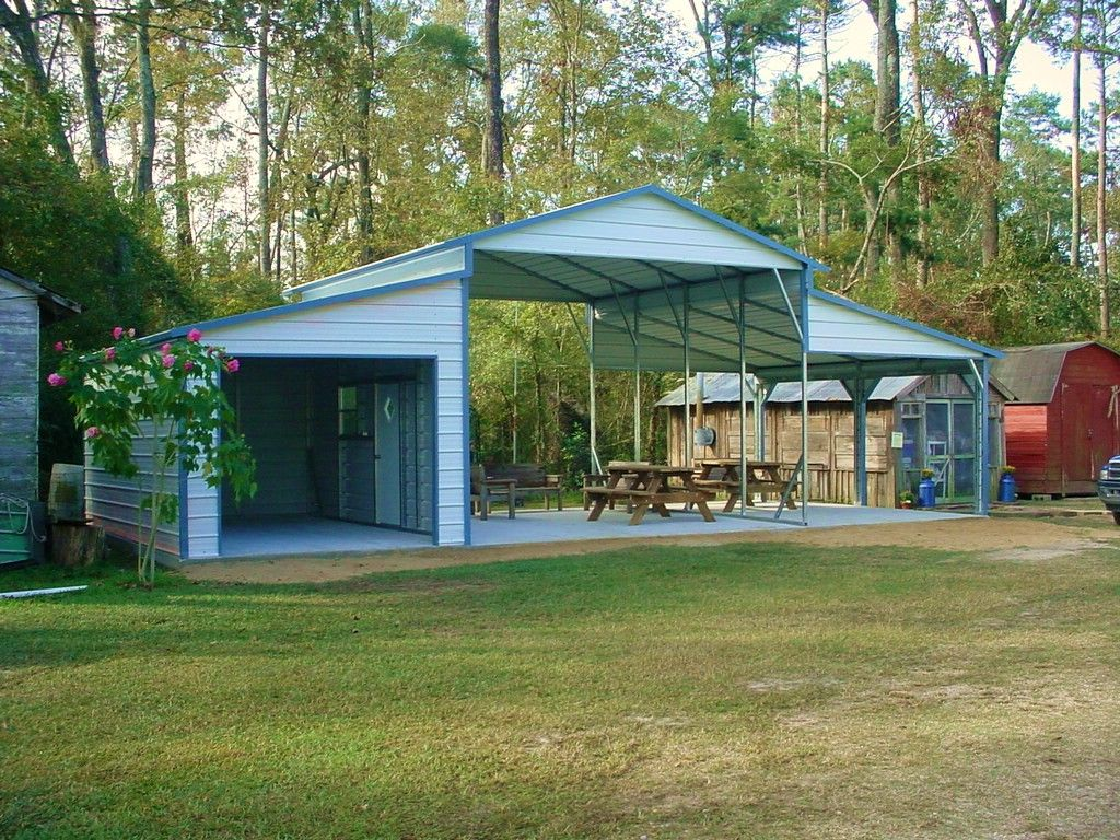 Awesome carport rv storage pinterest storage sheds for Carport shop combo