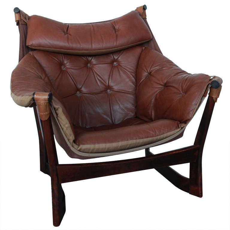 ingmar relling for westnofa brown leather sling lounge chair - Leather Lounge Chair