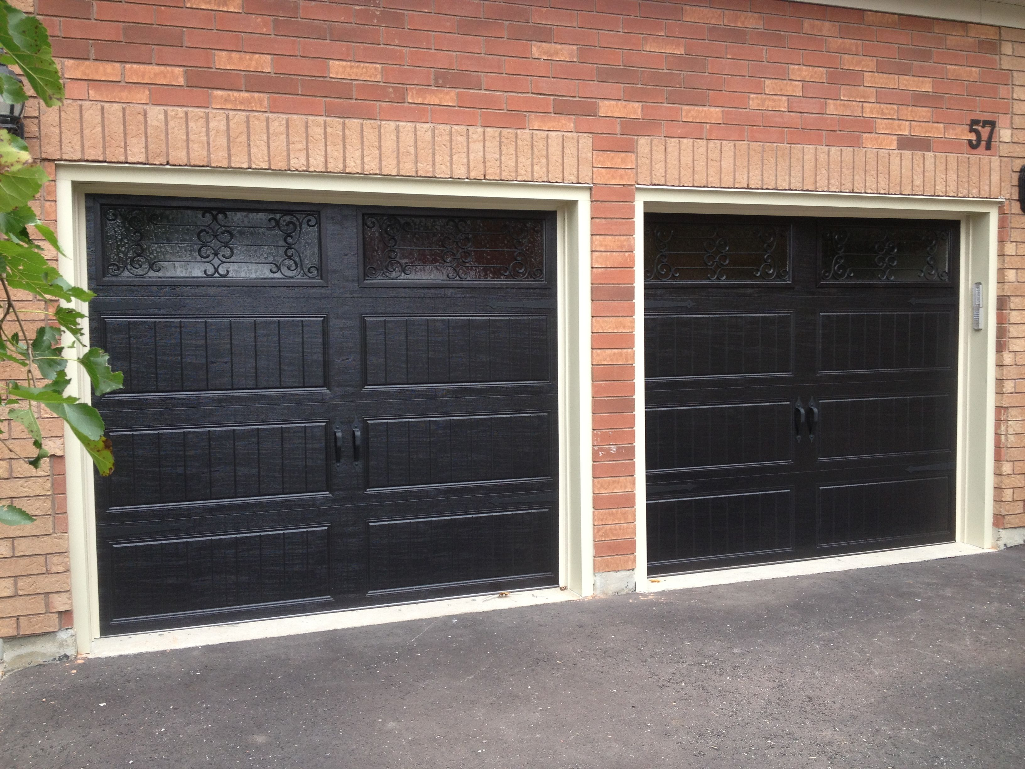 8x7 Clopay Steel Insulated Long Panel Carriage Doors In Black With