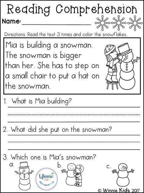 Kindergarten Reading Prehension Passages Winter