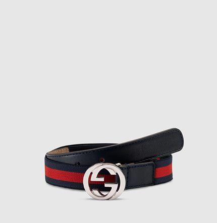 6a932da8dda kid s web belt with interlocking G buckle
