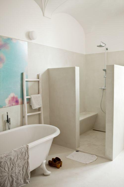Idee van mortex in badkamer kan in alle kleuren plaatser for Tadelakt bathroom ideas