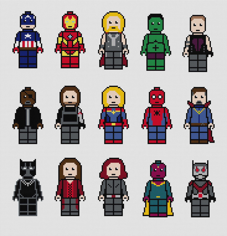 Lego Marvels Avengers Cross Stitch Pattern Pdf Marvel
