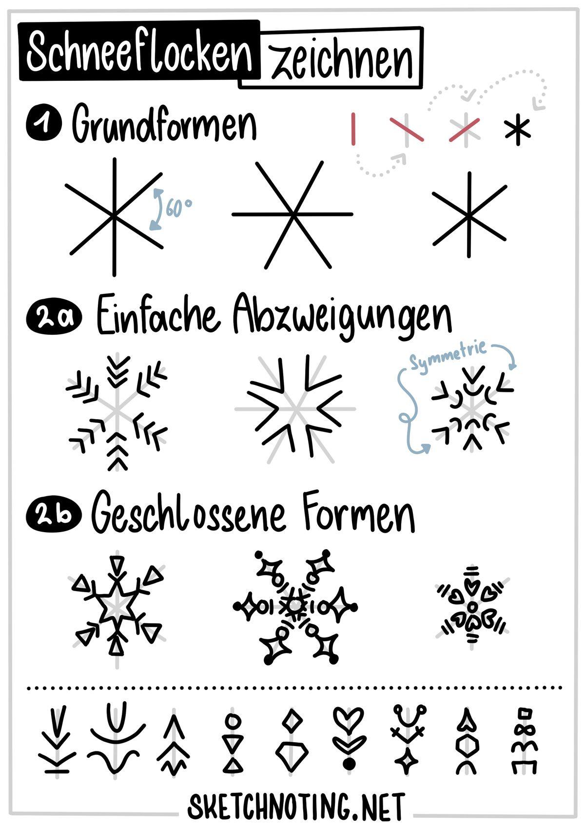 Schneeflocken Zeichnen Strich Fur Strich Anleitung Schneeflocke Zeichnen Schneeflocken Zeichnen