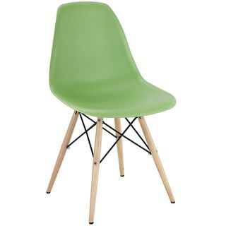 Light Green Plastic Side Chair with Wooden Base