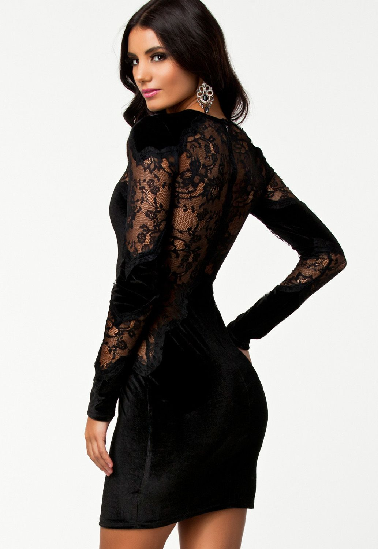 Black velvet lace long sleeves vintage dress vintage dresses