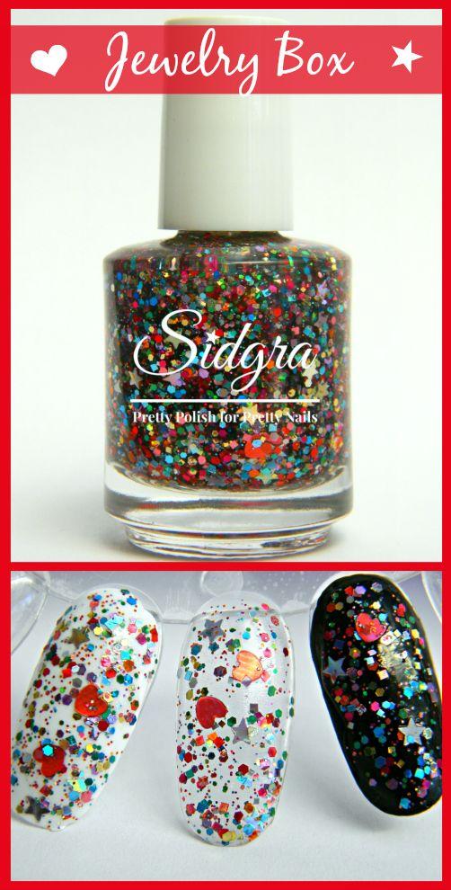 Glitter Nail Polish | Sidgra | Jewelry Box | Custom Blended - Full Size Bottle. 5-Free, Vegan, & Cruelty Free $9.99 Sidgra.com #sidgranailpolish #glitternailpolish #rainbownailpolish #colorfulglitterpolish