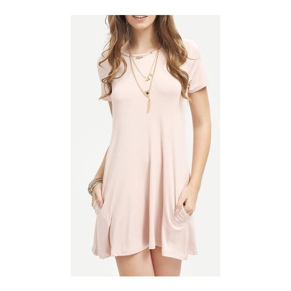 SheIn(sheinside) Pink Short Sleeve Pockets Loose Dress (41.010 COP) ❤ liked on Polyvore featuring dresses, pink, shift dress, short summer dresses, pocket dress, pink summer dresses and summer shift dresses