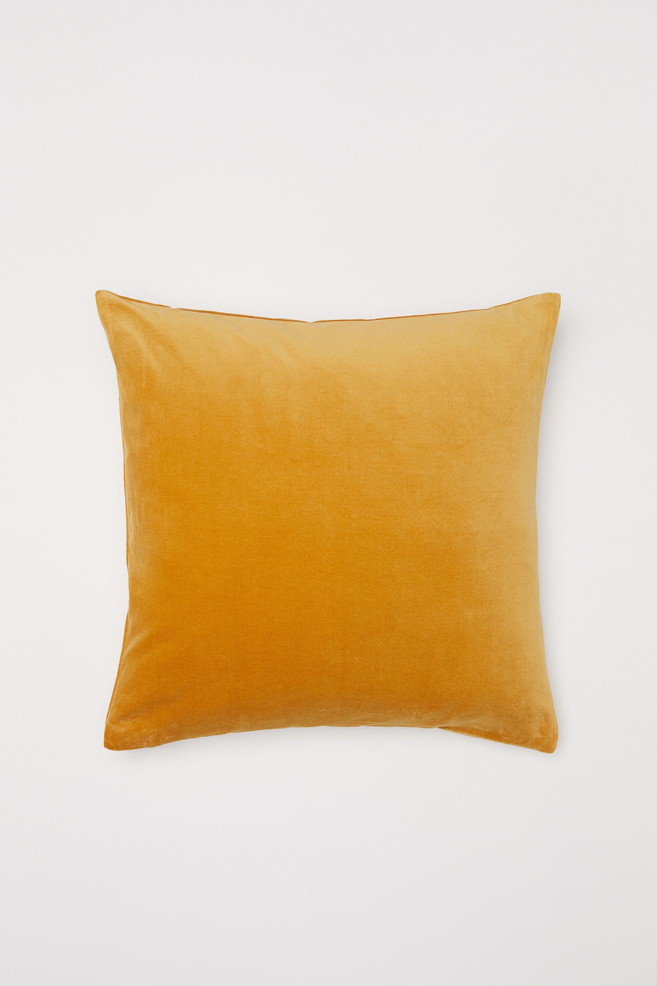 Cotton Velvet Cushion Cover Lion Yellow H M Velvet Cushions Cotton Velvet Cushion Cover