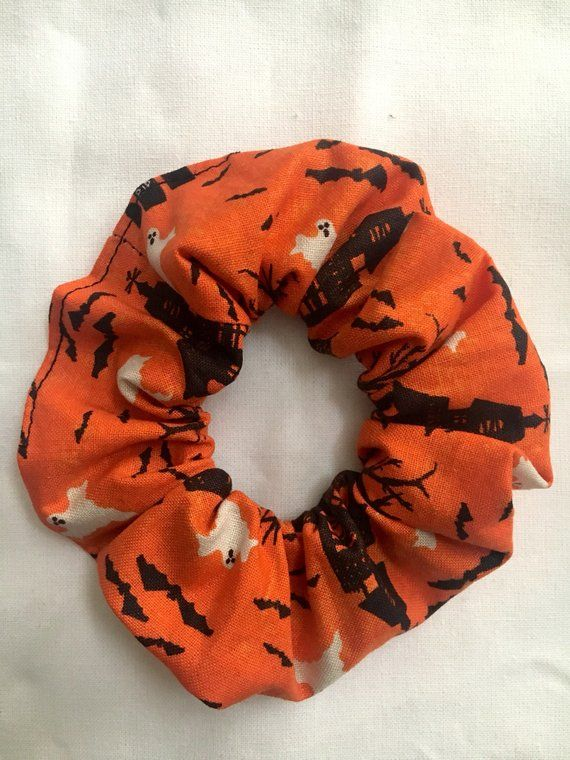 Accessories Halloween hair scrunchies,handmade Fun White Bats On Black
