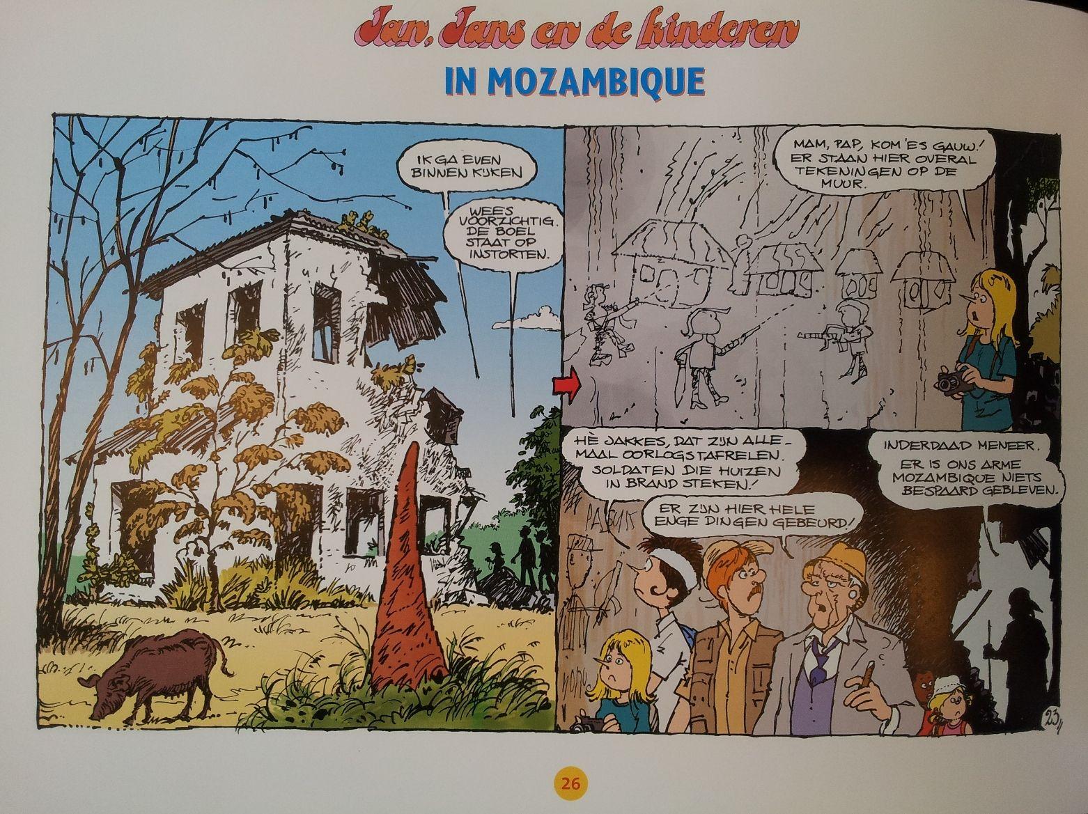 Muurtekeningen in de vervallen leprozerie in Mozambique. Bestel nu Jan, Jans en de Kinderen in Mozambique en Suriname voor Sinterklaas! www.leprastichting.nl/bestel-stripboeken/