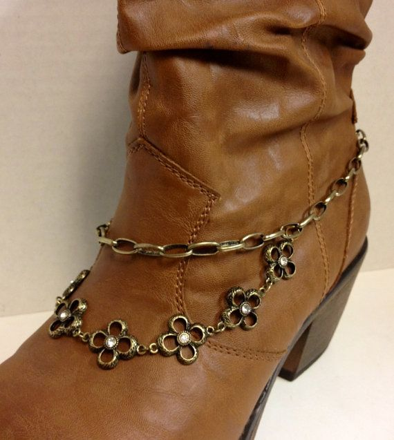 Boot Chain Jewelry, antique gold tone chain, flowers with rhinestone accents, lobster clasp. This chain looks beautiful on brown or black boots