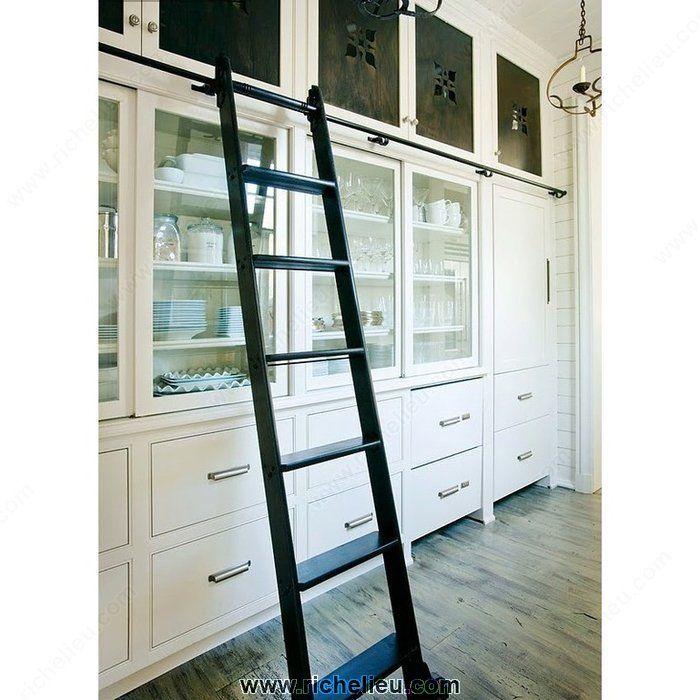 Kitchen Storage Ladder: Black Satin Hardware Kit For 7-Step Wood Rolling Ladder