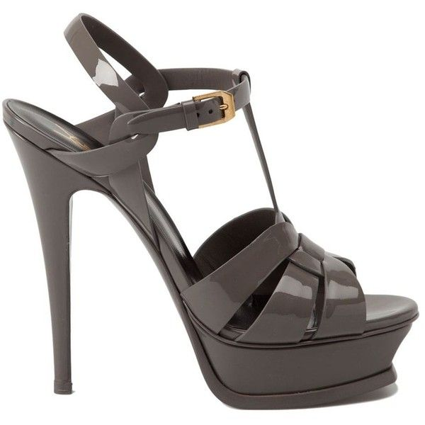 Saint Laurent Tribute Sandals ($895) ❤ liked on Polyvore featuring shoes, sandals, heels, store, grey, leather strap sandals, strappy heel sandals, leather sandals, t strap shoes and strappy platform sandals
